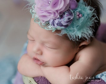 Emeline-aqua and lavender ruffle, rosette and silk flower headband with lace