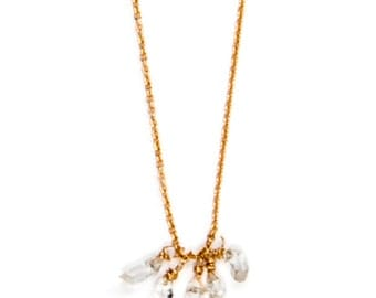 Herkimer Diamond Fringe Drop Necklace with Gold Filled Chain