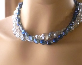 Sapphire Oval Anna Wintour Style Crystal Collet Statement Necklace