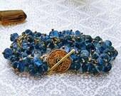 London Blue Topaz Bracelet, Blue Topaz Bracelet, London Blue Topaz Cluster Bracelet, Bali Bracelet, Custom Made Jewelry