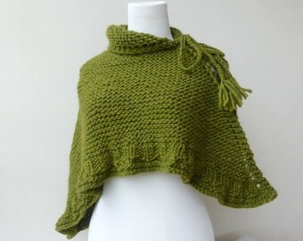 Green shawl Olive hand knitted wrap green Knit Cape Gift for her Chunky knit shawl wrap in coral Knit scarf green Knit Hood