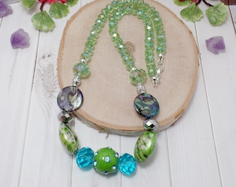 Green & Blue Beaded Necklace - OOAK - Statement Necklace