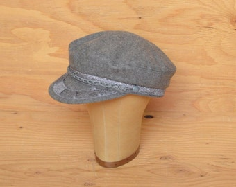 Classic Very Cool Grey Fishermans Hat With Rope Detail And Standard Appliqué On Brim