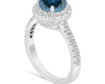 Fancy Blue Diamond Engagement Ring 14K White Gold 1.70 Carat Halo Certified Handmade