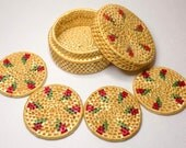 Vintage Woven Coasters in Storage Box, Set of 4 Round Tan Reversible Coaster With Red & Green Accents, Tropical Feel