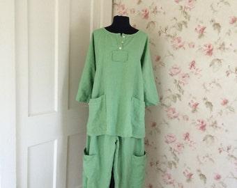 Linen Pants Bloomers Wide Leg Pants Apple Green Linen Prairie Lagenlook Big Pockets Ready To Ship One Size