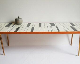 Vintage table Mid Century Mod black white Piano keys long narrow short tabletop display shelf light wood brass skinny legs