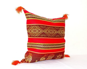 Red Aztec Pillow Cover - Tribal Bohemian Pillow - Colorful Boho Pillows - serape pillow - Mexico pillow - bohemian decor