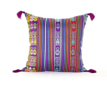 Purple Aztec Pillow Cover - Tribal Bohemian Pillow - Colorful Boho Pillows - serape pillow - Mexico pillow - bohemian decor