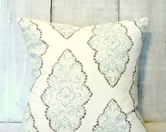 Soft Blue Diamond Damask - Blue and White Pillow Cover - Robins Egg Blue - French - Shabby Chic - Cottage - Romantic