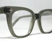 Vintage EyeGlasses Mens 50s Horn Rim Safety Frames.  Gray Translucent with glass lenses
