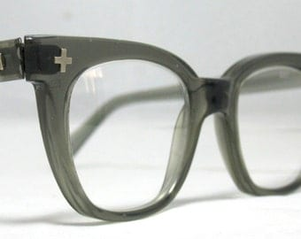 Vintage EyeGlasses Mens 50s Horn Rim Safety Frames.  Gray Translucent with glass lenses