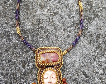 Dragon Jasper Sleeping Face Necklace