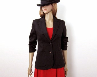 Vintage 1970s Blazer Black Fitted Classic Versatile Jacket / Small