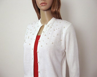 1960s Vintage Beaded Sweater Cream White Scattered Pearls Cardigan / Small