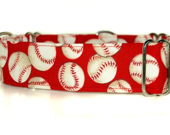 Martingale Dog Collar,,, Take Me Out to the Ball Game,, baseballs on red Martingale Dog Collar in 1.5 inch or 2 inch width