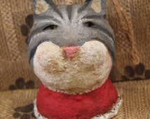 Primitive Cat Ornament, handmade from paper mache,OOAK, CHRISTMAS CAT