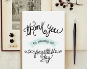 Wedding Planner Thank you card. Wedding Day cards. Hand drawn card. TK514