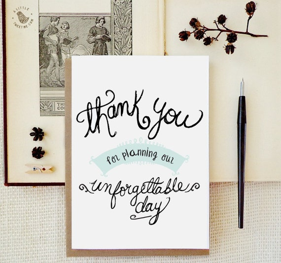 Thank You Gift To Wedding Planner : Wedding Planner Thank you card. Wedding Day cards. Hand drawn card ...