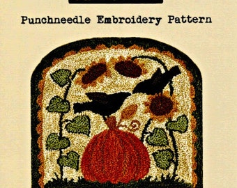 Punch Needle Pattern, Sunflowery Day, Sunflowers, Pumpkin, Crows, Primitive Decor, Teresa Kogut, Punch Needle Embroidery, PATTERN ONLY
