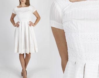 50s Dress 1950s Dress Rockabilly Dress Wedding Dress White Wedding Dress Vintage Dress Pinup Sheer Polka Dot Full Skirt Party Mini Dress