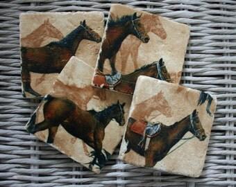 Horse Stone Coaster Set of 4 Tea Coffee Beer Coasters
