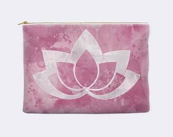 Lotus makeup bag, purple pencil case, large cosmetic bag, toiletry bag, pencil pouch, zippered pouch, cosmetic pouch, small clutch, Zen