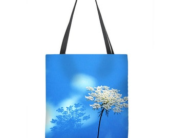 Floral Tote Bag, white flower tote bag, floral bag, Queen Anns Lace, blue tote bag, book bag, shopping bag, gift for her, carry all