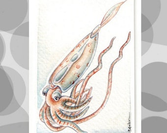 Original ACEO HANDPAINTED..Squid .OOAK..Original  watercolor Card painting sea world
