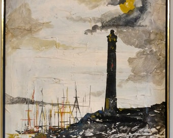 Modern Oil on Canvas /Lighthouse with Sailboats