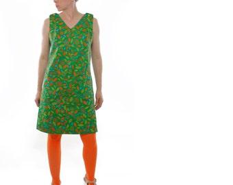 Vintage 60's sleeveless frock, casual dress, mod floral pattern, Green, Blue, Red, Olive, Orange, front pockets, shoulder buttons - Large