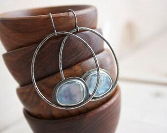 Kyanite Earrings, Mother Of Pearl Hoops, Sterling Silver Hoop Earrings, Drop Earrings... Kismet...