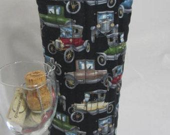 Vintage Cars Wine Bag Wine Tote Bag Wine Gift Bag Fabric Reuseable Gift Bag Automobiles