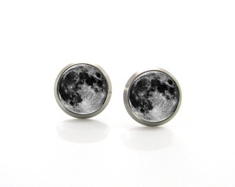 Pure Titanium Jewelry Earrings for sensitive ears Love you to the Moon and back Full Moon Solar system | Titanium Jewelry Stud earrings