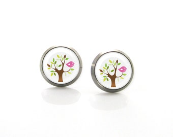 Bird on a Tree Titanium Post Earrings | Hypoallergenic Sensitive Stud | Titanium Stud Earrings | Funny Girls earrings | Children Earrings