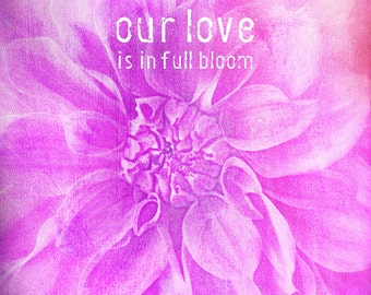PHOTO PRINT- love sentiment, romantic, Our love is in full bloom, nature inspired, pink dahlia