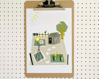 SALE Allotment Garden Gardening Grow Your Own Garden Shed Outdoors Allotmenteer Plot Print A4