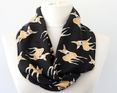 Fawn scarf black infinity scarf animal print scarf deer scarf woodland scarf loop scarf eternity scarf gift for her summer scarves for women