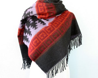 Blanket scarf Native large wrap Geometric hippie shawl Boho chicTribal winter scarf Aztec fall scarves Autumn wrap Bohemian Black orange
