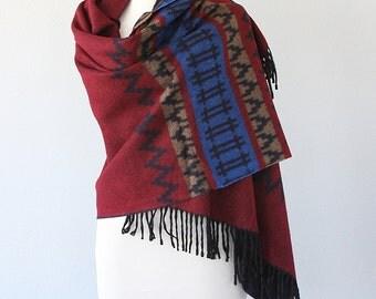 Blanket shawl Oversized winter scarf Large fringed wrap Blanket scarves Burgundy and blue Boho Aztec Autumn fall fashion Christmas gift