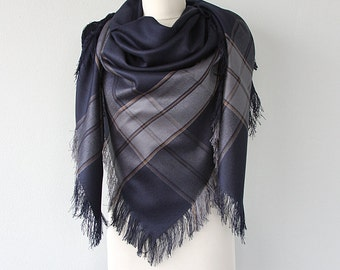 Wool Blanket Scarf Navy blue wrap Fringe shawl Plaid shawl Winter accessories Wool wrap Holiday gift Christmas gift for her