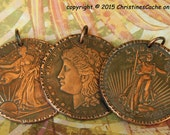 SALE...Copper Morgan Dollar Coin Pendant - Walking Liberty, St. Gaudins. All are 1 Ounce Solid Copper - Bold, Striking Pendants- MCP