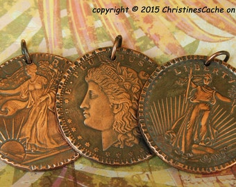 Copper Morgan Dollar Coin Pendant - Walking Liberty, St. Gaudins. All are 1 Ounce Solid Copper - Bold, Striking Pendants- MCP