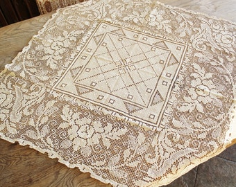 Vintage Small Ecru Lace Tablecloth