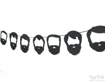 Beard Garland - Black Silhouette : Handcrafted Facial Hair Bunting | Lumberjack Party Decoration | Photo Booth Decoration | Whiskers