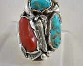Huge Native American Turquoise Coral Man's Sterling Silver Ring