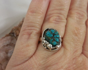 Native American Genuine Turquoise Nugget Sterling Silver Ring