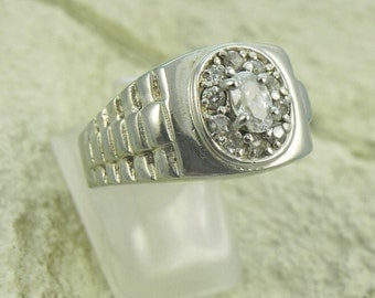 Sterling and CZ  Wedding Ring