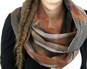 BROWN INFINITY SCARF - Chunky Infinity Scarf - Circle Scarf - Cowl Neck Scarf - Plaid Infinity Scarf - Upcycled Clothing - Hipster Scarf