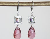 Ethereal Crystals - Pink Swarovski Crystal Beaded Dangle Drop Colorful Silver Earrings Elegant Classy Rose Blue Lavender